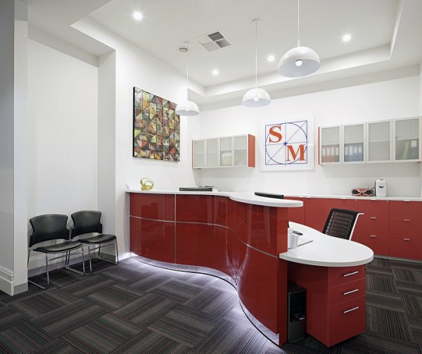 Curved Red reception Desk
