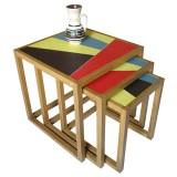 tables basses gigognes avec dessus en skaï