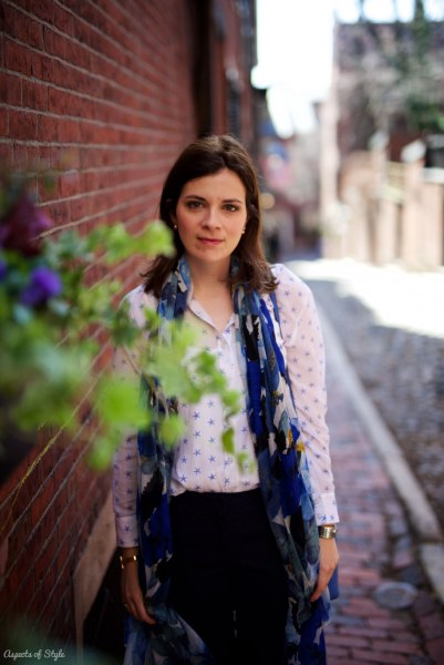 Zara blue scarf, Ann Taylor shirt