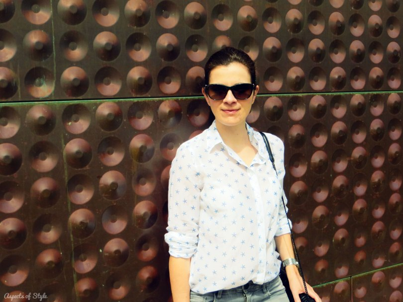 Ann Taylor shirt and Moschino sunglasses