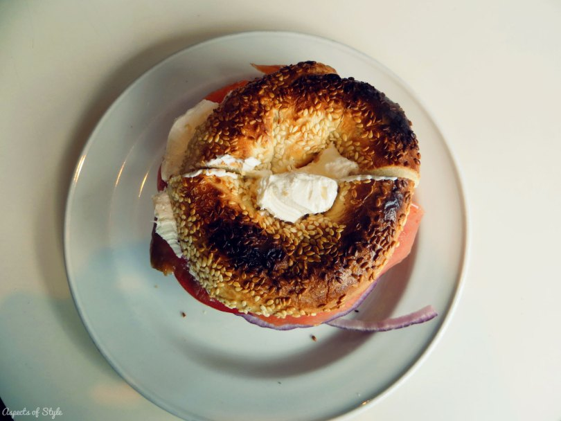 Salmon and cream cheese bagel at Beautys
