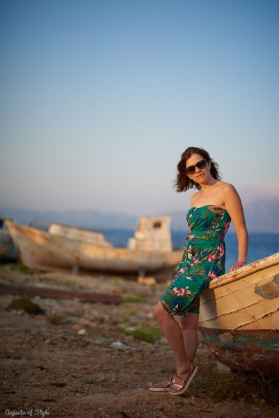 Tropical print dress in Elafonisos