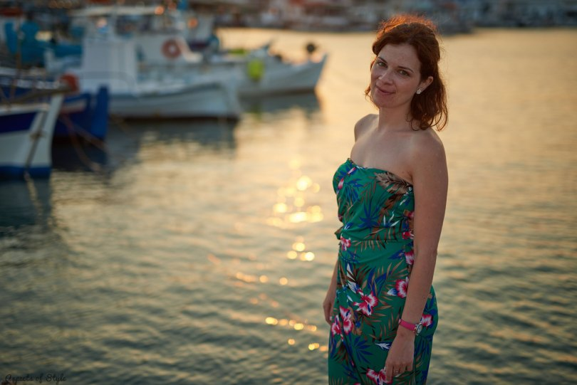 Tropical print dress in Elafonisos