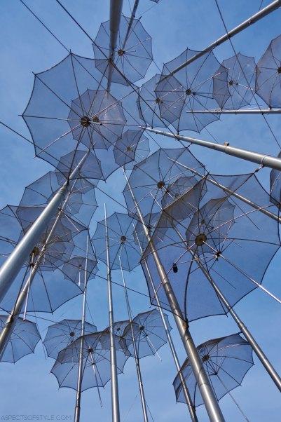 Umbrellas sculpture by George Zoggolopoulos