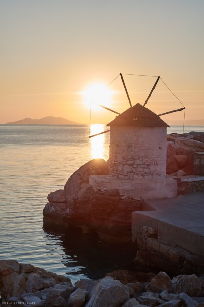 sunset in Aegiali, Amorgos, Greece