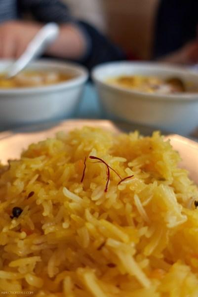 saffron basmati rice at Babaji Indian restaurant Athens