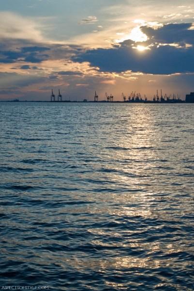 Thessaloniki Port at dusk