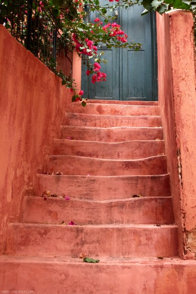 blush pink staircase in Chania, Crete