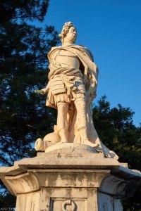 statue of Johann Matthias von der Schulenberg in front of Corfu Old Fortress