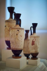 white vases at Archaeological Museum in Athens