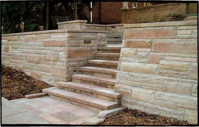 Mortared Flagstone Patio and Stairs