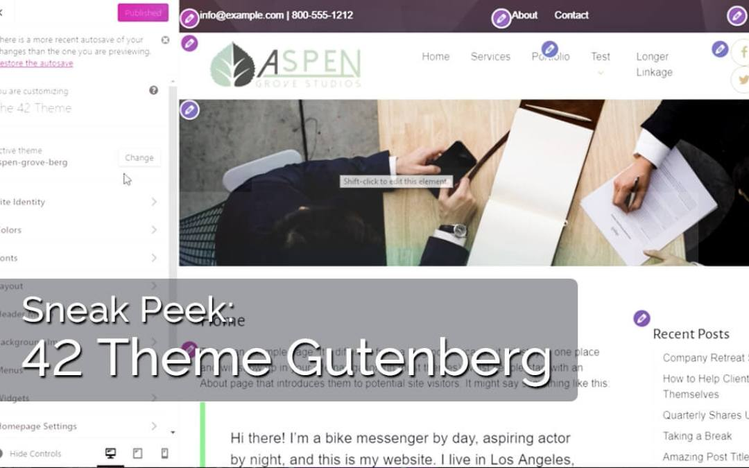 Introducing The 42 Theme for Gutenberg from Aspen Grove Studios!