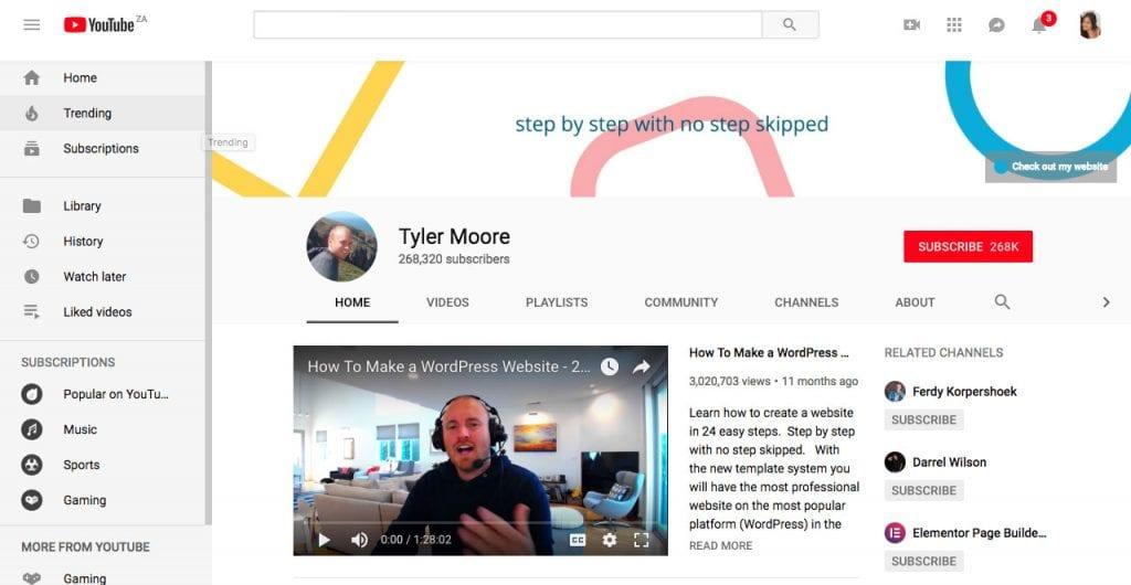 Tyle Moore chaîne YouTube