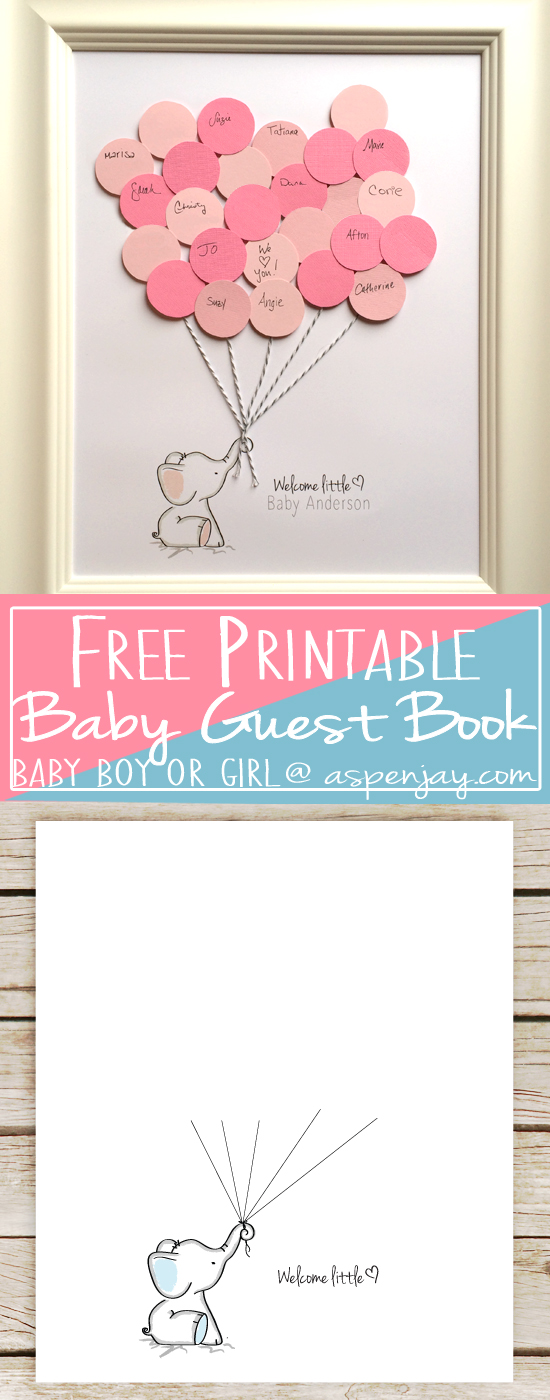 Pink Elephant Baby Shower Free Printables : elephant, shower, printables, Elephant, Shower, Guest, Printable, Aspen