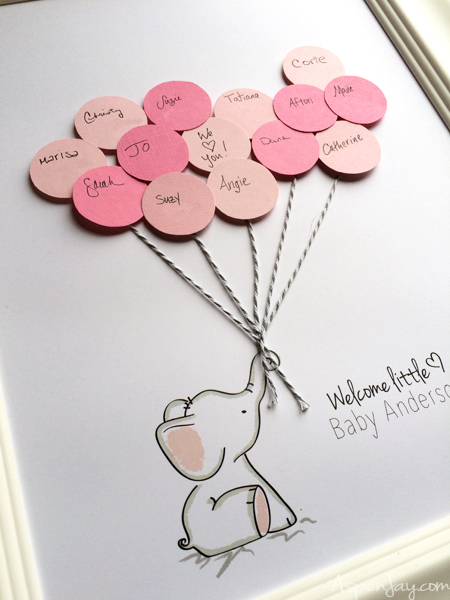 Pink Elephant Baby Shower Free Printables : elephant, shower, printables, Elephant, Shower, Guest, Printable, Aspen
