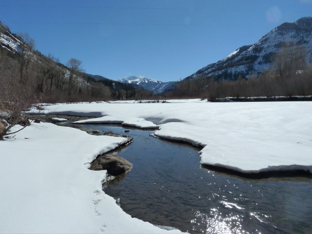 This is a side channel of the Crystal River just upstream of the potential Osgood dam site, looking toward Chair Mountain.