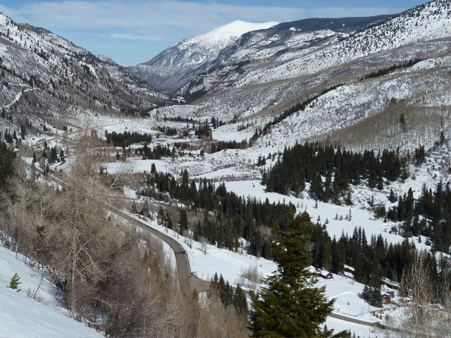A broader view, looking toward Redstone, of the potential Placita Reservoir site. The road to Marble off of Highway 133 is visible in the bottom of the picture. Taken from Highway 133 as it climbs to McClure Pass on the Pitkin County side of the pass.