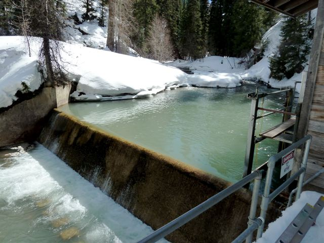 The city of Aspen's diversion structure on Castle Creek, in late winter 2011. Water from this point would be used for the city's proposed hydro plant.