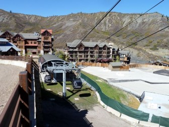 The Elk Camp Gondola separates the part of Base Village that is complete, from the substantial part that is not.