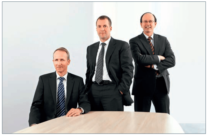 Executives at FMS Wertmanagement, the German organization charged with working through the distressed assets of Hypo Real Estate Group, including Base Village. From left, Ernst-Albrecht Brockhaus, Dr. Christian Bluhm, and Frank Hellwig.