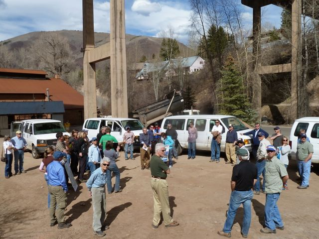 A group of citizens, officials and reporters on April 10, 2012, taking a tour of the proposed Castle Creek hydro plant location below the Castle Creek highway bridge. On the tour were two officials from the Federal Energy Regulatory Commission, which is reviewing the city of Aspen's application for the plant.