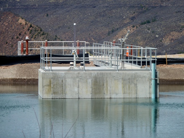 The entrance to the city's emergency drain line and penstock at the Thomas Reservoir. The emergency drain line/penstock was put in place to both drain the reservoir and to carry water down the hill to a proposed new hydropower plant. The city's efforts to classify the pipe as a conduit, in order to gain an exemption from a federal licensing process, has drawn criticism from American Rivers and others.
