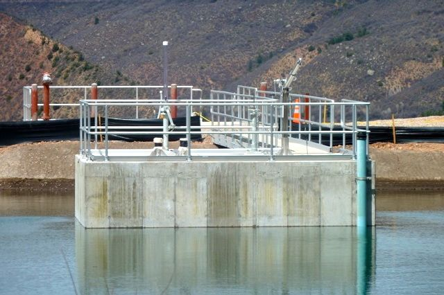 The outtake structure in Thomas Reservoir that holds a new 42-inch pipeline. Originally meant to be just a penstock, the pipeline is now viewed by city officials primarily as an emergency drain line.