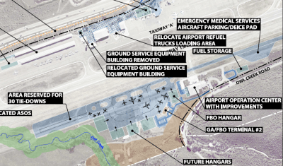 A map from the current draft Aspen airport master plan that shows the layout of future potential facilities on the west side of the runway. This map shows there is room for a suite of corporate hangars on the west side.