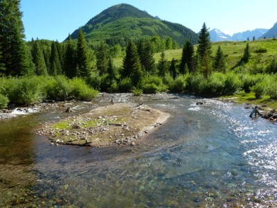 The stretch of Maroon Creek, just below the confluence of East and West Maroon creeks, where city of Aspen plans show a large dam. City officials say climate change may someday make either the Maroon or Castle creek dams a good option, and buying water in Ruedi now could benefit the reservoirs if they were built.
