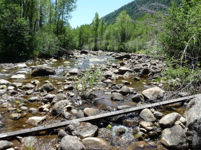 The Roaring Fork River in July 2012 just below the diversion structure for the Wheeler Ditch, which is downriver of the Aspen Club bridge and Ute Park.