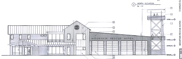 The proposed Mountain Rescue Aspen building and 45-foot training tower would be located on the site of the former Planted Earth garden center just upvalley of the Aspen Airport Business Center. The height of the peak of the roof of the proposed building is 34-feet high.