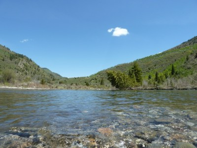 The aptly-named Crystal River, where it meanders through Placita at the base of McClure Pass.