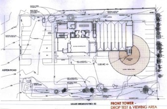 This graphic of the Mountain Rescue building site shows the safe zones around the proposed training tower.