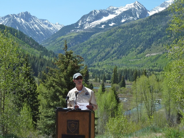George Newman, the current chair of the Pitkin County board of county commissioners, at an event near the Placita dam site in May 2012. Newman was reading a statement in support of American Rivers' decision to include the Crystal River on its 2012 list of the most endangered rivers in the country. Last month, Pitkin County asked a judge in water court to find that the planning period for a potential dam on the Crystal has expired.