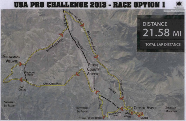 This map of the proposed route for the USA Pro Challenge bike race on Monday, Aug. 19 was presented to the Pitkin County commissioners on March 12. It does not show the exact route through the Brush Creek Village subdivision or the direct crossing of SH 82 to Smith Hill Road.