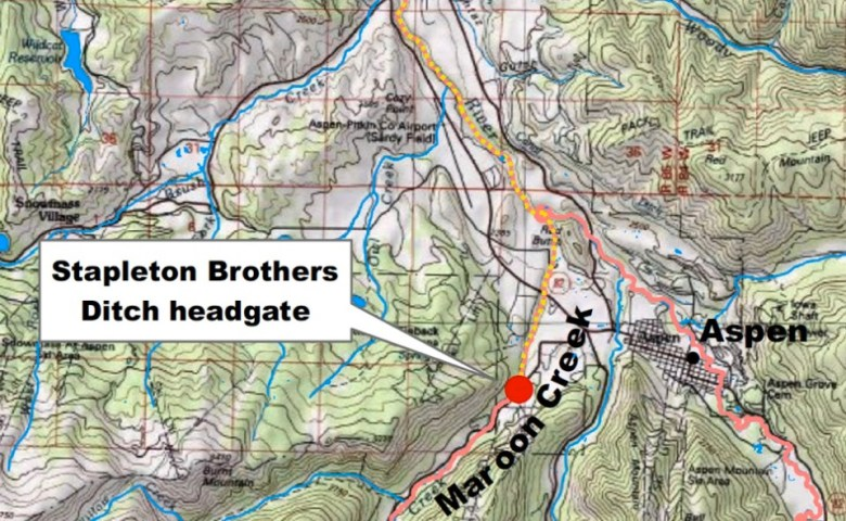 This map, developed by the Colorado Water Trust, shows the location of the Stapleton ditch headgate and the route water left in Maroon Creek would take to the Roaring Fork River.