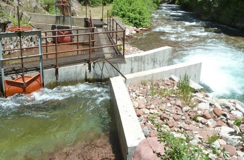 The diversion structure and headgate on Maroon Creek that either diverts water into the Stapleton Brothers irrigation ditch or lets it run free down the creek.