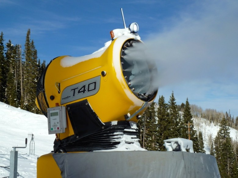 A snowmaking gun on Aspen Mountain in late 2012.
