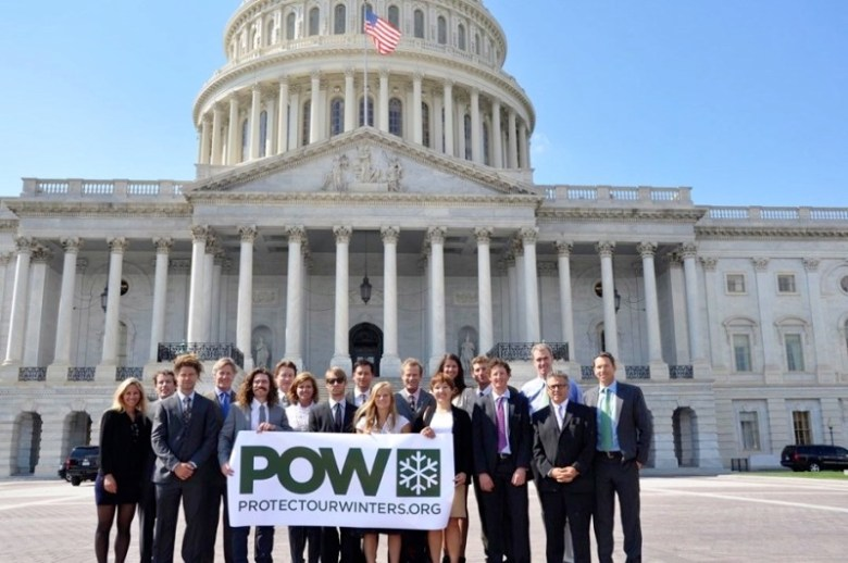 The POW delegation in front of the U.S. Capitol includes Gretchen Bleiler, far left, Penn Newhard, fourth from left, Chris Davenport, far right, Auden Schendler, fifth from right.