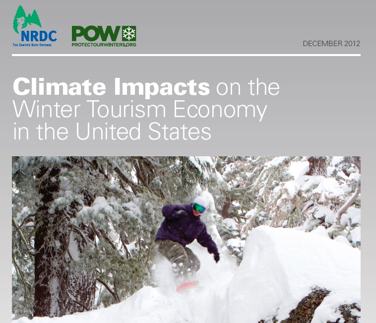 The cover of the POW analysis of climate impacts on winter and the ski industry.