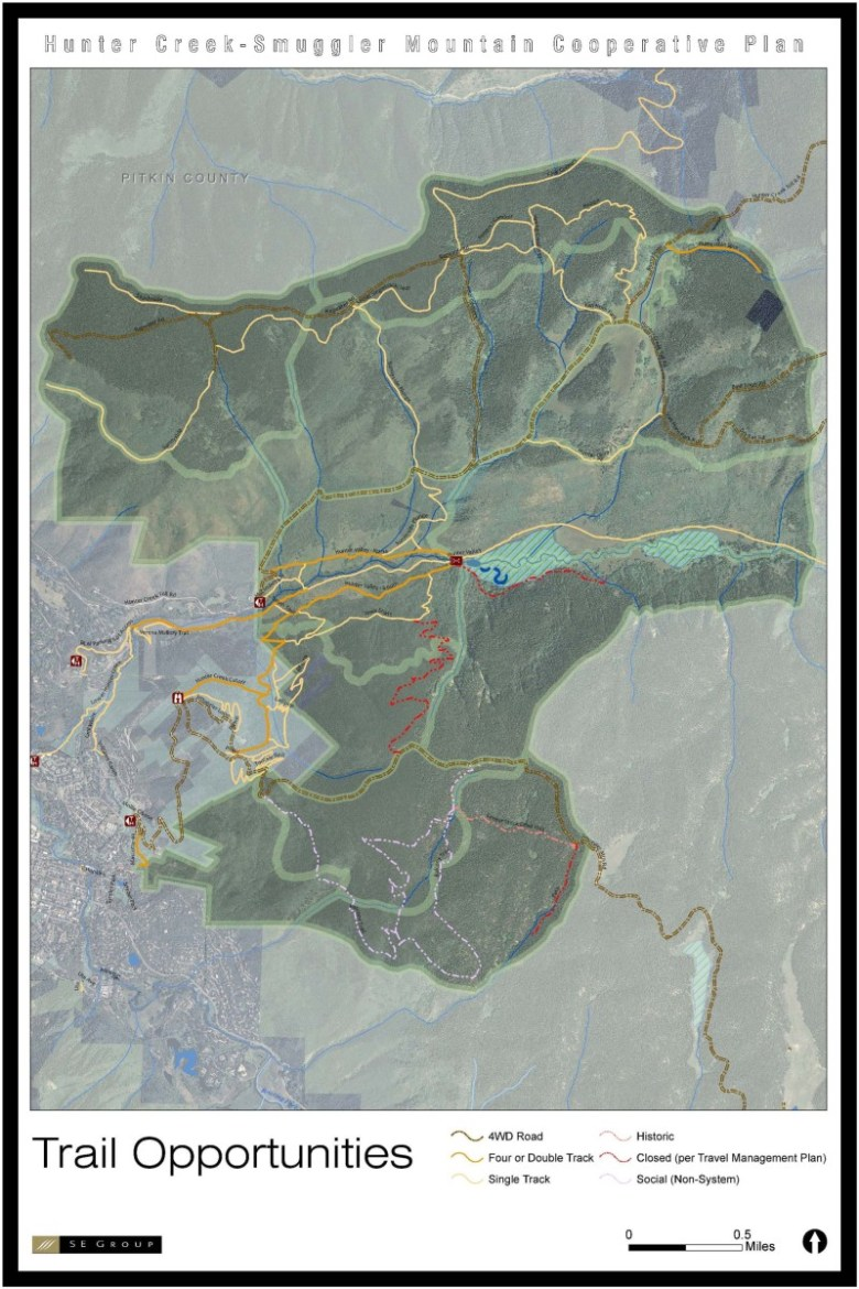 A map showing trail opportunities in the Hunter-Smuggler area.