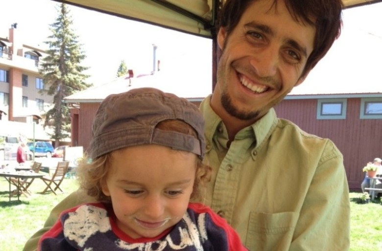 Eden Vardy, founder of Aspen TREE, an educational agricultural program in the Roaring Fork River valley, with his son