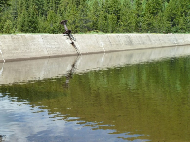 The dam on Lost Man Creek that creates Lost Man Reservoir.