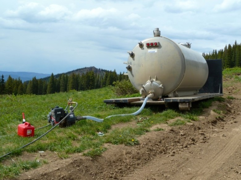 A water tank being used to water re-seeded ground at the Little Annie's wedding site on Monday, June 23, 2014. The tank was slated to be removed on June 25 and the site left to its own devices.
