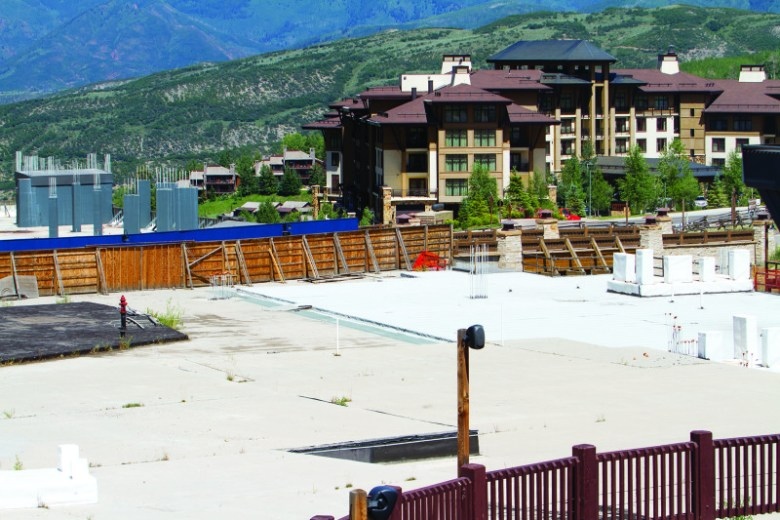 A portion of the still-stalled Base Village in July 2014. Owner Related got a generally positive review from the Snowmass Village planning commission on July 23, 2014.