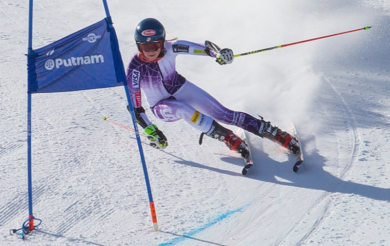 Olympic gold medalist Mikaela Shiffrin flies through the World Cup Course during practice last week on the difficult Strawpile course. World slalom and GS races will be held at 10 a.m. and 1 p.m. on Aspen Mtn. on Saturday and Sunday.