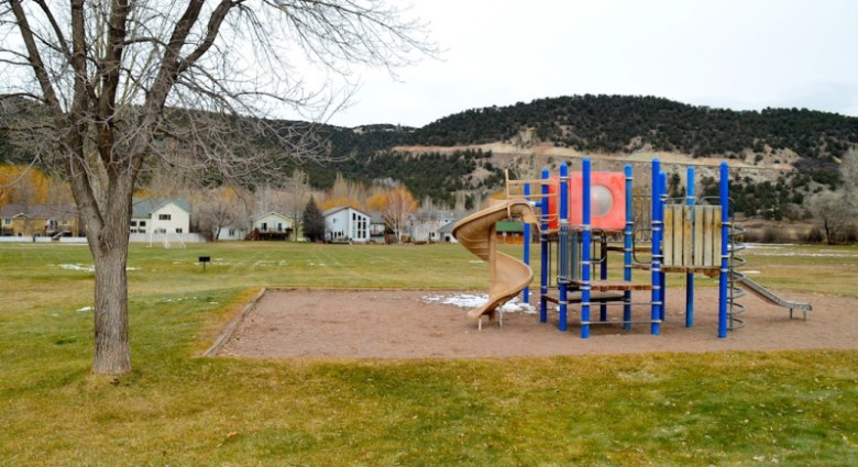 This playground and soccer field in Blue Lake (with Missouri Heights in the background) is a likely location for a future school.