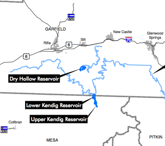 A map from a report showing the location of the potential upper and lower Kendig reservoirs.