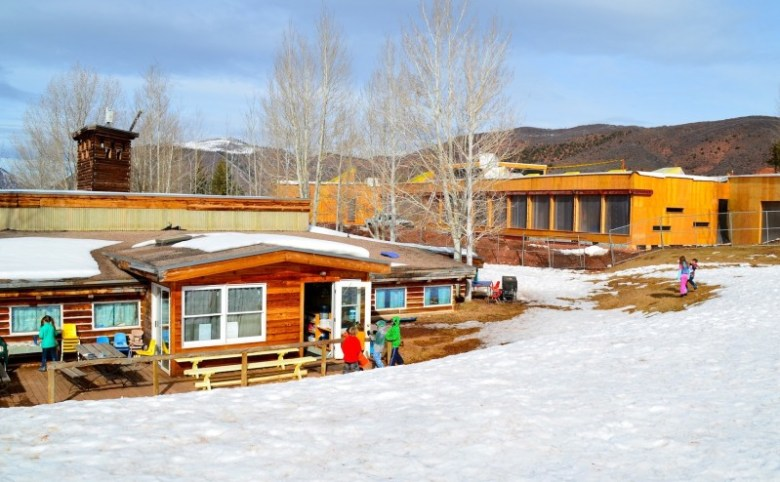 In this image from February, Aspen Community School's new main classroom building is under construction at right, while classes are still underway in the 40-year-old main school building at left. The school in Woody Creek is part of the Aspen School District, but many of its students live outside the district boundaries.