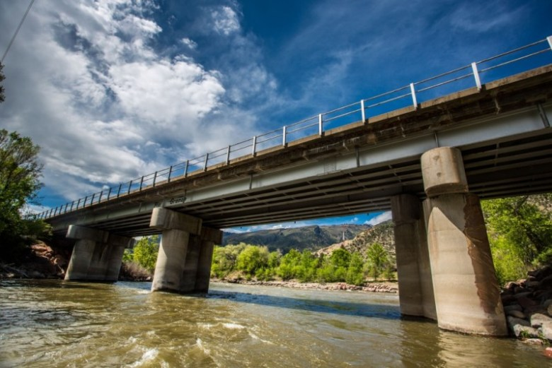 The railroad bridge over the Roaring Fork River at the river's confluence with the Colorado River.